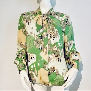 Vintage Silk Gallant Paris Oriental Print Blouse
